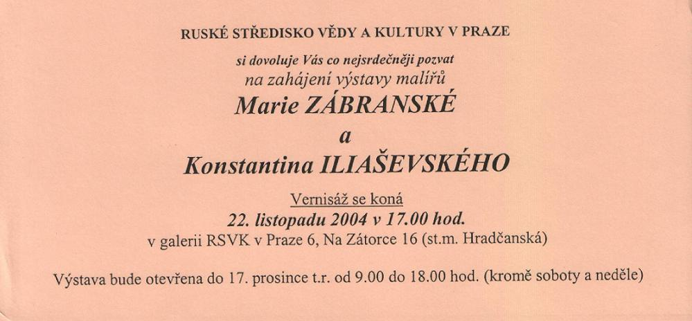 Výstava M. Zábranské a K. Iliaševského