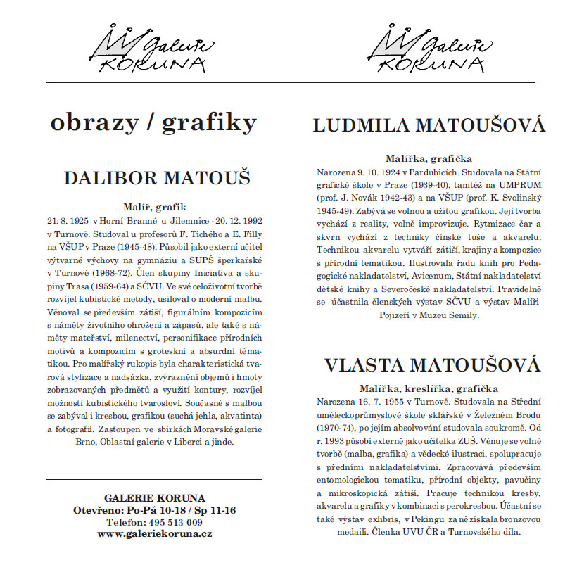 Výstava Vlasty Matoušové a spol.