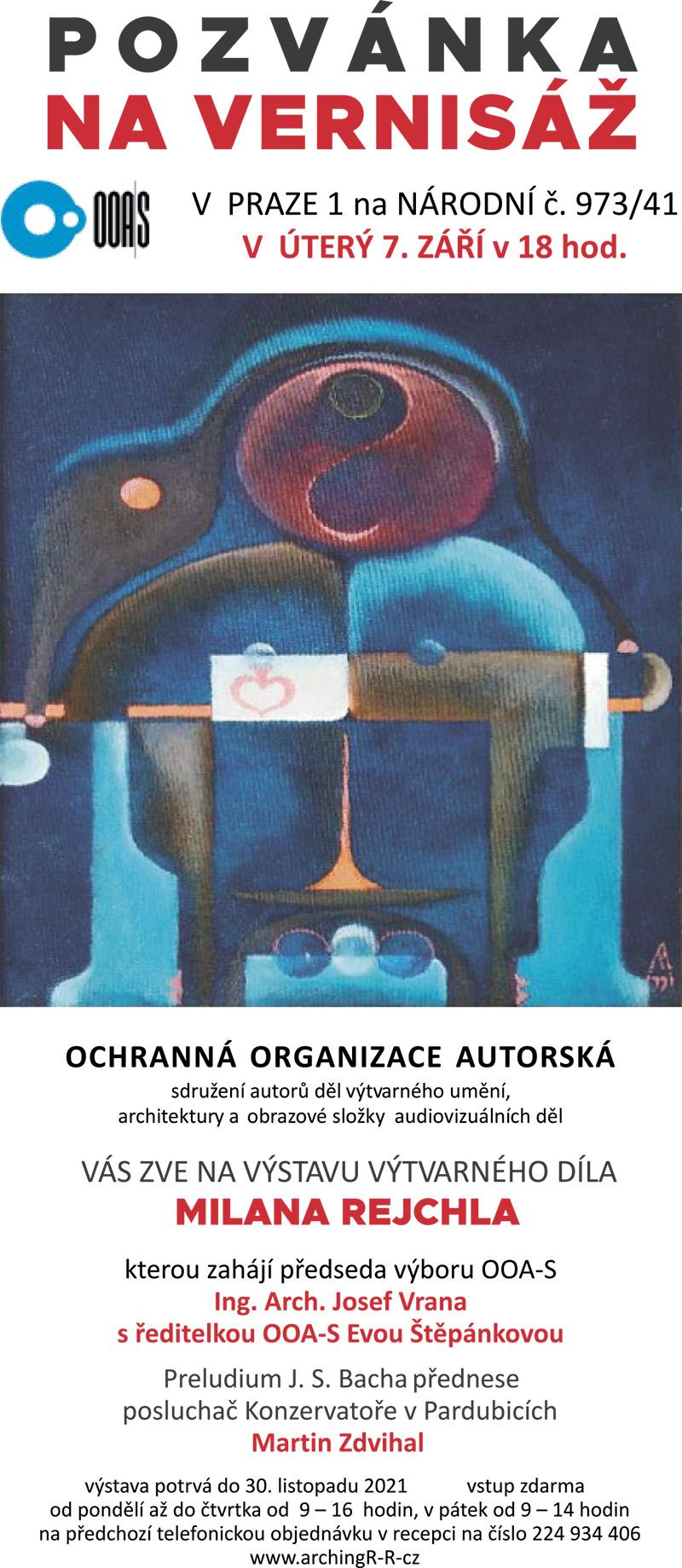 OOA-S zve na vernisáž pana arch. Milana Rejchla 7.9.2021 od 18,00